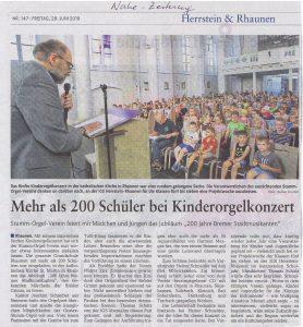 Pressebericht der Nahe-Zeitung, Freitag, 28.06.2019 - LOKALTEIL HERRSTEIN-RHAUNEN