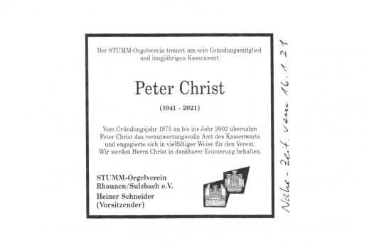 Nachruf für Herrn Peter Christ